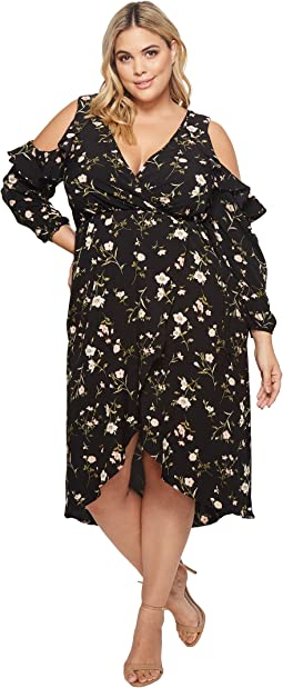 KARI LYN Plus Size Natalia Cold Shoulder Maxi Floral Dress