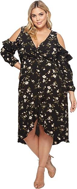 KARI LYN - Plus Size Natalia Cold Shoulder Maxi Floral Dress