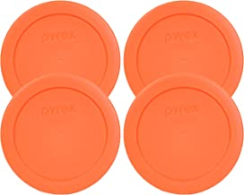 Pyrex 7200-PC Orange 2 Cup Round Storage Cover for Glass Bowls (4 Pack)