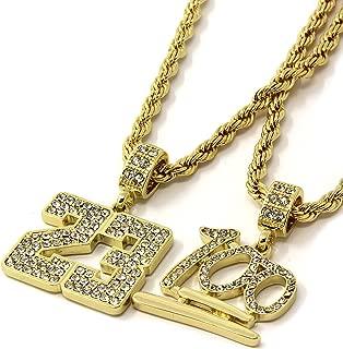 Mens 14k Gold Plated #23 & Emoji 100 Cz Pendant Set Hip-Hop 24