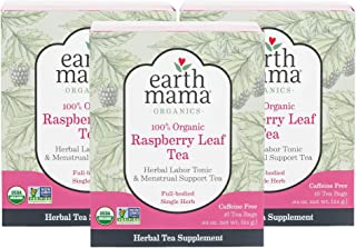 Earth Mama Organic Raspberry Leaf Tea Bags for Labor Tonic and Menstrual Support, 48 Count, Pack of 3