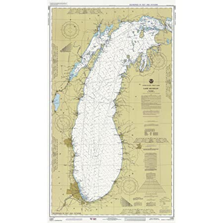 1930 Nautical Map of Lake Michigan