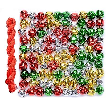 TOAOB 100pcs Multicolor Jingle Bells Craft Bells 8mm Small Metal Bells for DIY Pet Pendants Wreath Holiday Home and Christmas Decoration