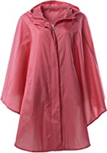 QZUnique Women's Waterproof Packable Batwing-Sleeved Raincoat Rain Poncho Jacket Coat Hooded for Adults with Pockets