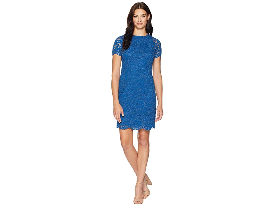 LAUREN Ralph Lauren Dahlia Floral Blondie Lace Short Sleeve Day Dress (Porter Blue) Women
