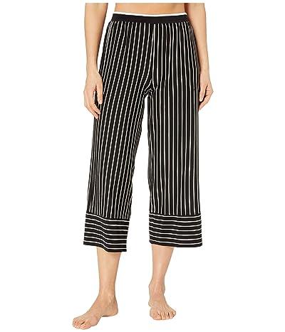 Donna Karan Modal Spandex Jersey Wide Leg Capris (Black Stripe) Women