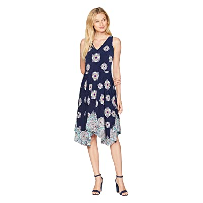 Maggy London Diamond Border Printed Jersey Fit and Flare (Navy/Jade) Women