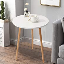 Haton Side Table, Round White Modern Home Decor Coffee Tea End Table for Living Room, Bedroom and Balcony, Easy Assembly (...