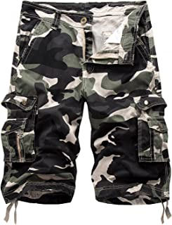 Elonglin Men's Cropped Cargo Summer Combat Cotton Camo Shorts Casual, Belt Not Included