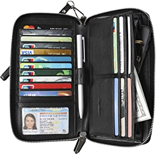 Womens RFID Blocking Wallet Real Leather Zip Around Clutch Large Travel Purse (Black)