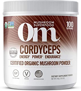 Om Organic Mushroom Superfood Powder, Cordyceps, 100 Servings, Energy and Endurance Support Supplement, 7.05 Ounce (Pack o...
