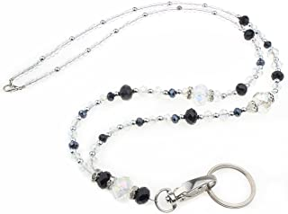 Lanière Wisdompro® - 48,3 cm - Pour femme - Collier avec fermoir ovale pivotant et porte-clés pour cartes et clés cristal