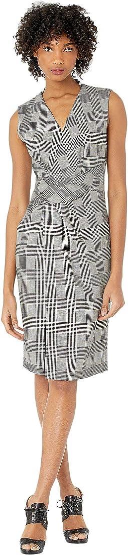 Double Faced Plaid Wool V-Neck Dress w/ Draped Waist