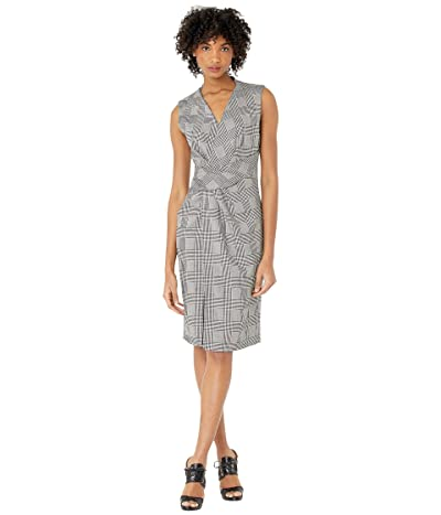 Adam Lippes Double Faced Plaid Wool V-Neck Dress w/ Draped Waist (Black/White) Women
