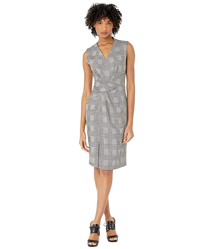 Adam Lippes  Double Faced Plaid Wool V-Neck Dress with Draped Waist (Black/White) Womens Dress