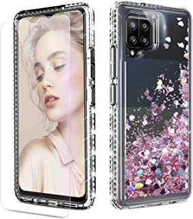 Galaxy A42 5G Case, DONWELL Liquid Quicksand Girly Crystal Shockproof Protective Clear Case with Screen Film and Lens Film...