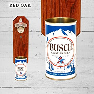 Wall Mounted Bottle Opener with Vintage Busch Beer Can Cap Catcher