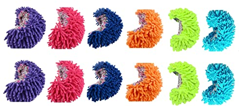 King's deal- Tm 12pcs (6 Pairs) Dust Floor Cleaning Slippers Shoes Mop House Clean Shoe Cover Multifunction (12 Pcs (6 Color))