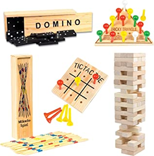 Wooden Game Set by GamieTM - 5 Fun Games for Kids and Family - Includes Tic-Tac-Toe, Tower, Domino, Triangle, Pick-up Stick - Compact Size - Best Gift for Boy or Girl 5+.