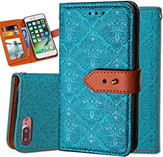 iPhone 8 Plus Case Wallet,iPhone 7 Plus Wallet Case for Women,Auker Vintage Mural Folio Flip Leather Fold Stand Shockproof Body Protective Buckle Purse Case with 3 Card Holder/Cash Pocket