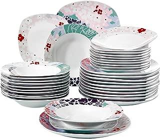 VEWEET Olina 36 Piezas Juegos de Vajillas de Porcelana con