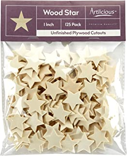 Artlicious - 125 Unfinished Wooden Star Cutouts - 1