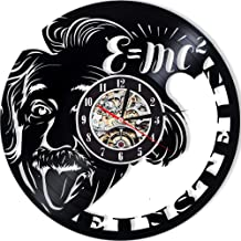 Levescale - Albert Einstein Vinyl Wall Clock - Exclusive Math Design - Perfect Phythics Gift for Teacher, Man Or Woman - Decoration for Class Room, University - Formula Theory Science