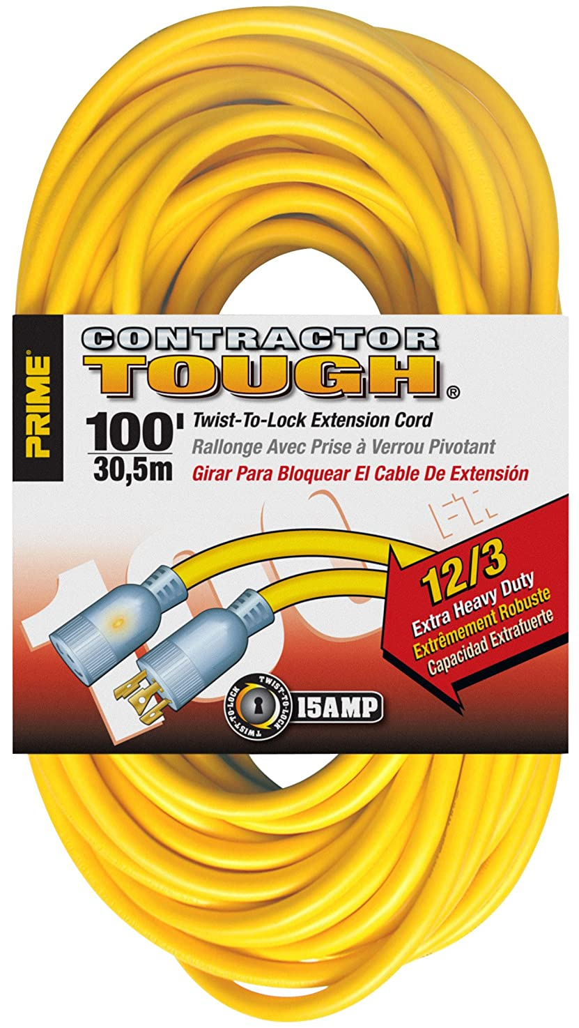 Prime Wire & Cable EC730835 100-Foot 12/3 SJTW Twist -to-Lock Contractor Outdoor Extension Cord with Prime light Indicator Light, Yellow