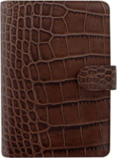 Filofax Classic Croc Print Leather Organizer Agenda Calendar with DiLoro Jot Pad Refills (Personal, Chestnut 2019, 026016)