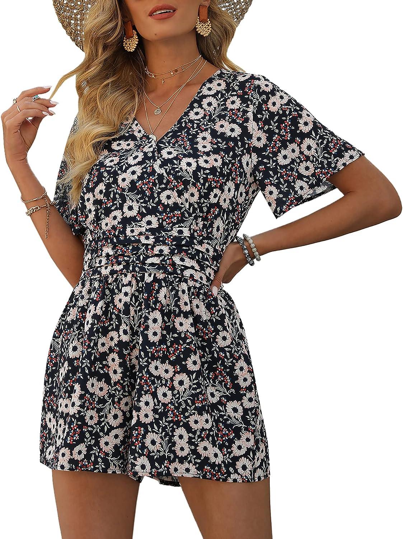AIMCOO Women's Short Flare Sleeve Pleated Flora Romper Waistline Los Angeles Mall High order