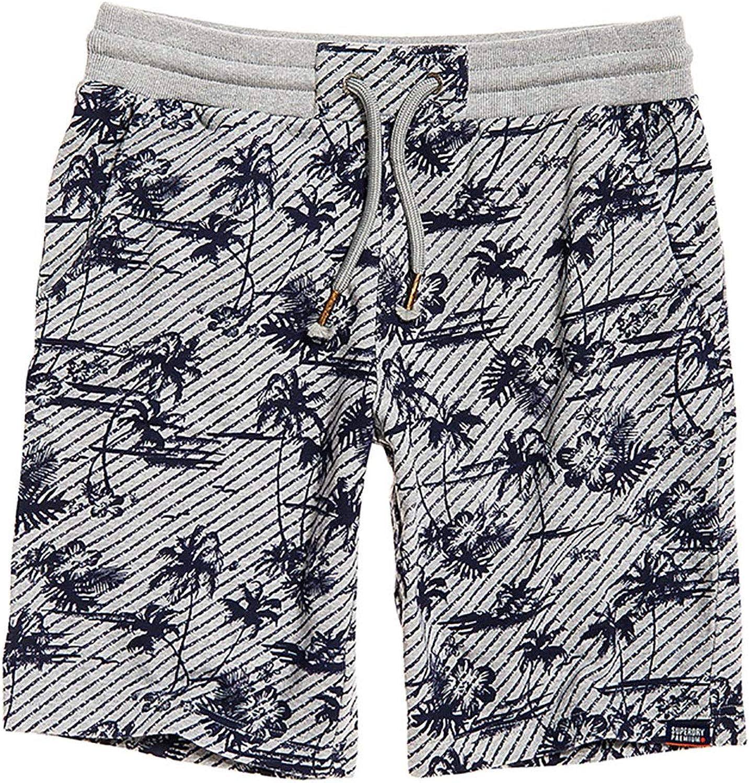 Superdry Shorts Herren AOP Washed Short grau Marl Logo Palm