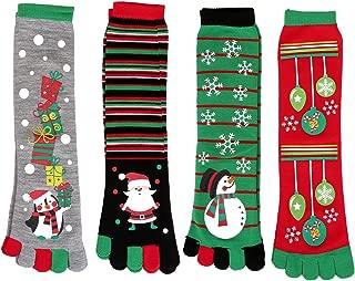Womens Christmas Holiday Crew Socks Five Toes Stretchy Christmas Socks Warm Winter Casual Socks