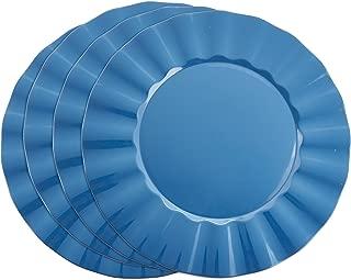 SARO LIFESTYLE Collection Metallic Ruffle Design Round Charger Plate, 13