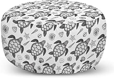 Ambesonne Turtle Ottoman Pouf, Nautical Animals Pattern Sea Turtle Shells and Starfish Monochrome Illustration, Decorative Soft Foot Rest with Removable Cover Living Room and Bedroom, Black and White