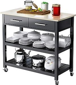 VIPEK Large Wood Utility Cart Rolling Kitchen Cart Island Table Storage Cabinet w/Drawer, Shelves Storage Shelf, Lockable Casters Wheels Trolley Kitchen Dining Serving Cart, Black