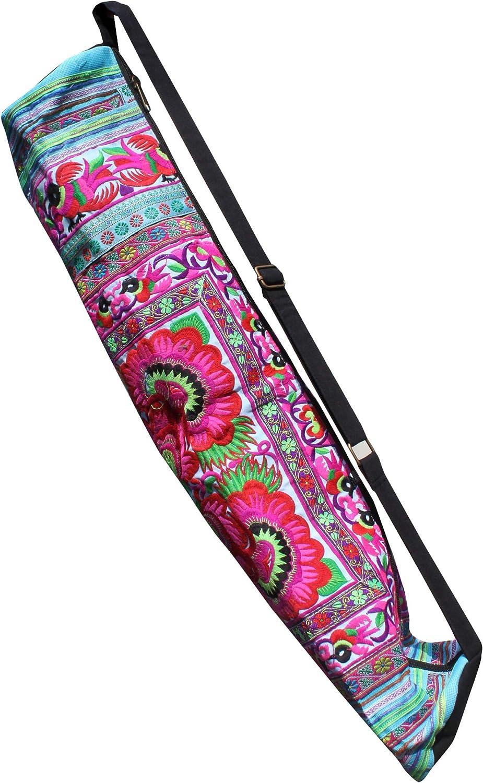 RaanPahMuang Bright Embroidered Hand 完売 Made Mat Yoga Birds Flowers 無料
