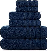 2021 Luxury Fluffy Bath Towel Sets 6 Piece Plush Turkish Holtel Towels Bathroom Set Lint Free [Worth $79.95] Navy Blue