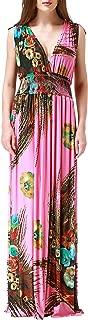 Wantdo Women's Maxi Dress Floral Print V Neck Casual Long Skirt Plus Size