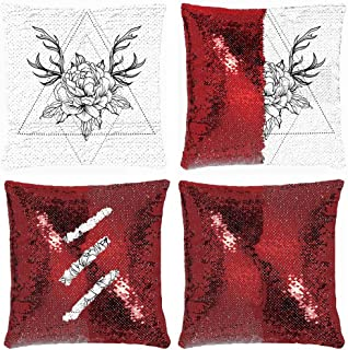 Huayuanhurug Blackwork Tattoo Flash Peony Flower with Deer Antlers White Mystic Symbol School Dotwork Boho Sequin Throw Pillow Case Reversible Mermaid Pillow Cover Decorative Case 18 x 18 in