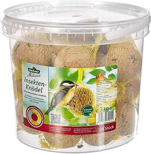 Dehner Natura Nourriture pour Oiseaux Sauvages, Boules de Graisse avec Insectes, 30pièces (3kg)