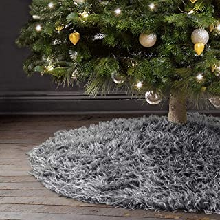 Ivenf Christmas Tree Skirt, 48 inches Thick Plush Faux Fur Rustic Xmas Holiday Decoration, Gray