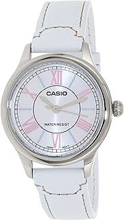 ساعة نسائية من كاسيو بمينا بيضاء وسوار جلدي - Ltpe113L-7A