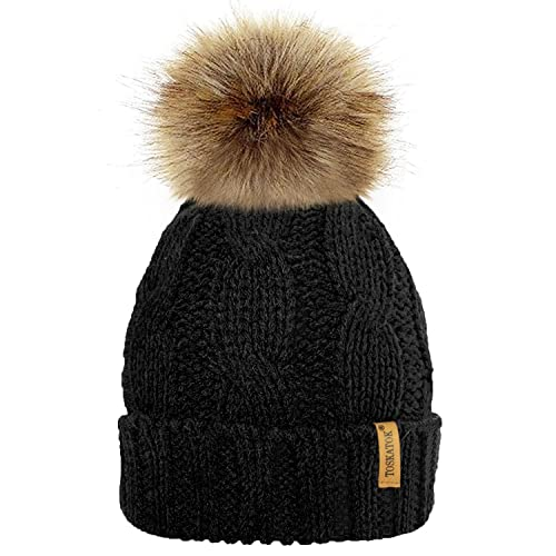 8e950d04 TOSKATOK Ladies Chunky Soft Cable Knit Hat with Cosy Fleece Liner and  Detachable Faux Fur Pompom
