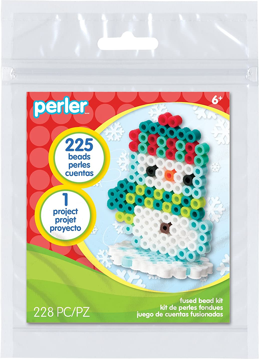 Perler 3D Snowman Fused Bead Kit