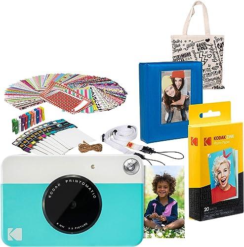 Kodak PRINTOMATIC Instant Print Camera (Blue) Gift Bundle with Photo Album