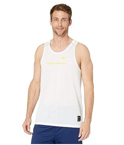 Nike Dri-FITtm Rise 365 Tank Artist (White/Chrome Yellow/Reflective Silver) Men
