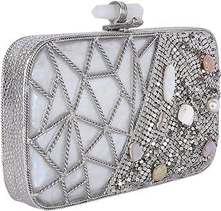 women Bridal Handmade metal Handbag purse Hand clutch Mother of Pearl Nacre Antique ethnic high quality Indian clutch