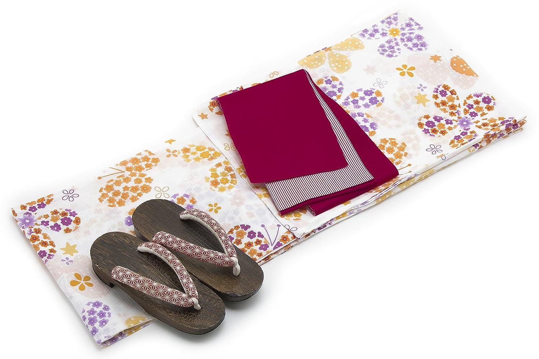 (ソウビエン) 浴衣セット レディース レトロ キスミス 半幅帯 白 橙色 紫 花 蝶 綿 紅梅織 女性
