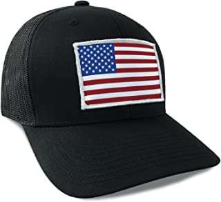 American Flag USA Flexfit Mesh Tactical Trucker Snapback Hat Red White and Blue