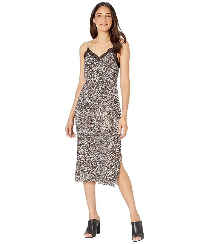 1.STATE  Spaghetti Strap Animal Beats Midi Dress (Burnt Caramel Multi) Womens Dress